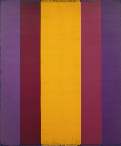 Steven Alexander, Generation 2, 2018, Oil and acrylic on linen, 60 x 50 inches, 5 vertical rectangles in purple, magenta and yellow mirroring the others. Steven Alexander is an American artist who makes abstract paintings characterized by luminous color, sensuous surfaces and iconic configurations.