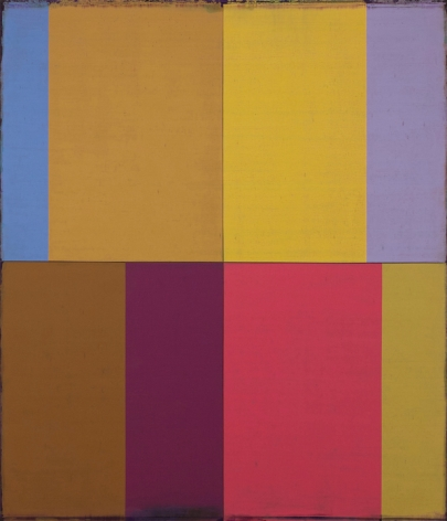 Steven Alexander, FOUR WINDS 10, 2016,  Oil and acrylic on canvas, 42 x 36 inches. Eight vertical rectangles of different sizes and colors . Steven Alexander is an American artist who makes abstract paintings characterized by luminous color, sensuous surfaces and iconic configurations.