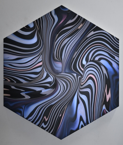Andy Moses, Geodynamics 1205, 2019 Acrylic on canvas stretched over hexagonal shaped wood panel 60 x 52 inches