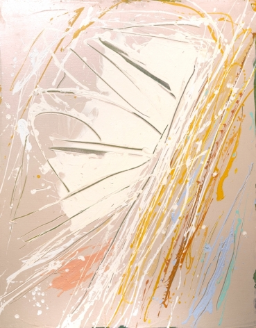 Dan Christensen, Pioneer Flier,  c. 1984, Acrylic on canvas, 62 1/2 x 49 1/2 in., Signed and titled on verso. Abstract and action based work, with blush pink base, and white, orange, yellow and blue details. Dan Christensen pushes the limits of paint and pictorial form creating works that are Post-Painterly Abstraction with methods of action painting and Abstract Expressionism.