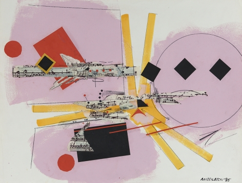 Sam Middleton, Rhythm Section, 1985,  mixed media and collage on paper, 19 1/4 x 25 inches,  Signed and dated lower right. Abstract work with pastel pink, red and yellow. Music notes in the background. Sam Middleton was one of the leading 20th-century American artists, and is a mixed-media collage artist.