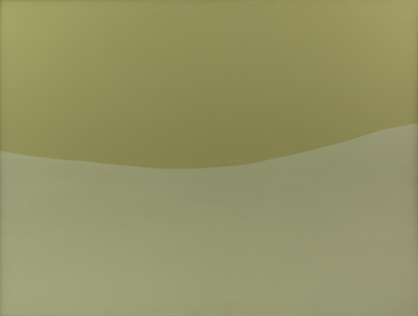 Felrath Hines, Beige Green, 1968, Oil on canvas, 36 x 48 inches. Canvas split in half organically between two hues of green. Felrath Hines worked to create universal visual idioms from a place of complex personal experience. His figurative and cubist-style artwork morphed into soft-edged organic abstracts as he grappled with hues in his chosen oil medium.