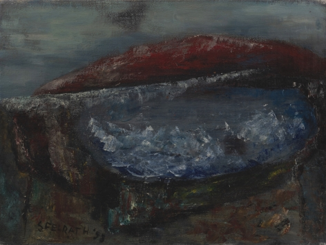 Felrath Hines, Red Hill, 1953, Oil on canvas, 12 x 15 inches. Abstract painting with dark blue, black and red tones. Felrath Hines worked to create universal visual idioms from a place of complex personal experience. His figurative and cubist-style artwork morphed into soft-edged organic abstracts as he grappled with hues in his chosen oil medium.