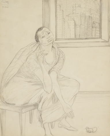 Hilla Rebay, Tenement, Graphite on paper, 13 1/2 x 11 inches, pencil sketch of person with unnatural long arms and a city backdrop. Hilla Rebay was an abstract artist and co-founder of the Guggenheim.
