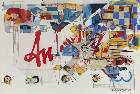 Sam Middleton, Adagio, 1988 Mixed media collage, 20 1/2 x 30 1/4 inches,  Signed and dated lower right. Abstract work with checkered squares, primary colors, and organic shapes. Sam Middleton was one of the leading 20th-century American artists, and is a mixed-media collage artist.