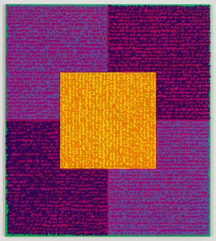 Louise P. Sloane, VVPPO, 2015, Acrylic paint and pastes on aluminum panel, 34 x 30 inches, Signed, titled and dated on verso, four rectangles and a central square (purple and violet with yellow) and personal text written over the squares to create three dimensional texture. Louise P. Sloane has been creating abstract paintings since 1974.