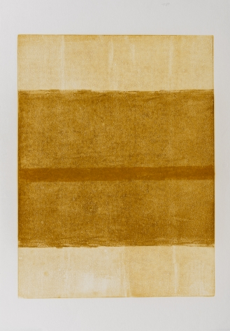 Felrath Hines,  Untitled, 1982,  Monotype,  24 x 18 inches. Vertical rectangles in earthy tan and brown colors. Felrath Hines worked to create universal visual idioms from a place of complex personal experience. His figurative and cubist-style artwork morphed into soft-edged organic abstracts as he grappled with hues in his chosen oil medium.