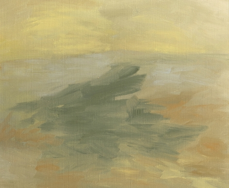 Felrath Hines, Untitled, 1962, Oil on canvas, 15 x 18 inches. Organic and abstract brush strokes in natural earth tones; green, tan and orange. Felrath Hines worked to create universal visual idioms from a place of complex personal experience. His figurative and cubist-style artwork morphed into soft-edged organic abstracts as he grappled with hues in his chosen oil medium.
