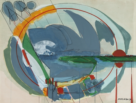 Sam Middleton, Everyone's Music Book, 1975, Mixed media collage, 19 1/2 x 25 1/4 in.,  Signed and dated, lower right. Seaside scene. Sam Middleton was one of the leading 20th-century American artists, and is a mixed-media collage artist.
