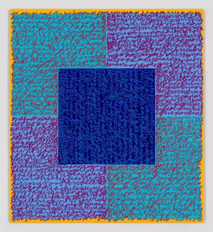 Louise P. Sloane, Fated 5, 2016, Acrylic paint and pastes on aluminum panel, 40 x 36 inches, four rectangles and a central square (teal, blue, and yellow edges) with personal text written over the squares in pink to create three dimensional texture. Louise P. Sloane has been creating abstract paintings since 1974.