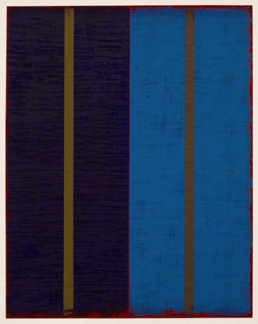 Steven Alexander, P5-18, Oil and acrylic on paper, 10 x 8 inches. Vertical canvas, navy blue on left and royal blue on right, with golden strips in the center of each. Steven Alexander is an American artist who makes abstract paintings characterized by luminous color, sensuous surfaces and iconic configurations.