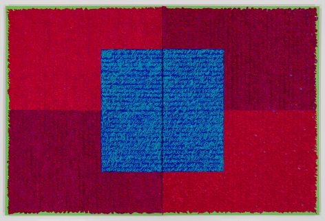 Louise P. Sloane, RRCT, 2018, Acrylic paints and pastes on linen, 48 x 72 inches, four rectangles and a central square (magenta, red and blue with green edges) with personal text written in blue and red over the squares to create three dimensional texture. Louise P. Sloane has been creating abstract paintings since 1974. Her works focus on geometric forms while celebrating color and texture.