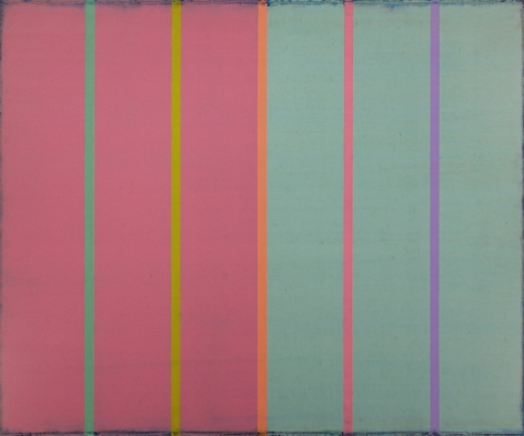 Steven Alexander, TRACER 7, 2017, Oil and acrylic on canvas, 50 x 60 inches. Horizontal canvas split in two, pink and green. On top of these colors are six thin vertical lines in green, yellow, orange, pink and purple. Steven Alexander is an American artist who makes abstract paintings characterized by luminous color, sensuous surfaces and iconic configurations.