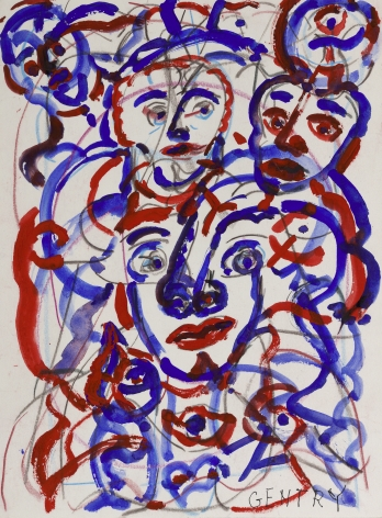 Herbert Gentry, All of Us, 1997, Acrylic, color and graphite on archival board,  12 1/4 x 9 1/4 inches,  Signed lower right. Abstract work made of thick blue and red curved lines that appear to be multiple abstract faces. Herbert Gentry painted in a semi-figural abstract style, suggesting images of humans, masks, animals and objects caught in a web of circular brush strokes, encompassed by flat, bright color.