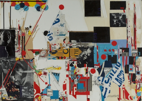 Sam Middleton, Jam session, 1993,  Mixed media and collage on paper,  30-1/2 x 42,  Signed and dated lower right. Collage with black and white photographs, blue type and geometric shapes in primary colors. Sam Middleton was one of the leading 20th-century American artists, and is a mixed-media collage artist.