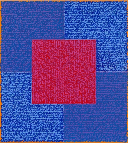 Louise P. Sloane, Blues, 2015 , 40 x 34 inches, Acrylic paint and pastes on aluminum panel, SOLD,  four squares and a central square (pink and blue) with personal text written over the squares in blue and pink to create three dimensional texture. Louise P. Sloane has been creating abstract paintings since 1974, embracing minimalist techniques and the beauty of color and texture.