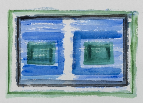 Felrath Hines, Untitled, 1980s,  Watercolor on paper, 10 x 14.25 inches. Blue, green and navy horizontal paint strokes and rectangles. Felrath Hines worked to create universal visual idioms from a place of complex personal experience. His figurative and cubist-style artwork morphed into soft-edged organic abstracts as he grappled with hues in his chosen oil medium.