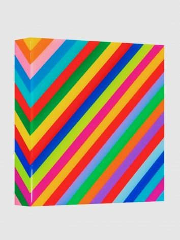 Heidi Spector, My Clarity II, 2019, Liquitex with resin on Birch panel, 12 x 12 x 2 inches, Signed, titled and dated on the verso, Vertical panel with colorful cubes set in a glass-like surface, Heidi Spector creates geometric minimalist art inspired by musical rhythms that are composed of repetitive cubes in candy-like colors that vibrate.