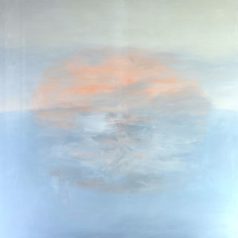 Felrath Hines, Landscape, 1965, Oil on canvas, 60 x 60 inches. Abstract work with organic flat strokes and muted blue and orange tones. Felrath Hines worked to create universal visual idioms from a place of complex personal experience. His figurative and cubist-style artwork morphed into soft-edged organic abstracts as he grappled with hues in his chosen oil medium.