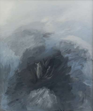 Felrath Hines, Sheashell, 1962, Oil on canvas, 40 x 34 inches. Abstract work in blue and grey tones. Felrath Hines worked to create universal visual idioms from a place of complex personal experience. His figurative and cubist-style artwork morphed into soft-edged organic abstracts as he grappled with hues in his chosen oil medium.
