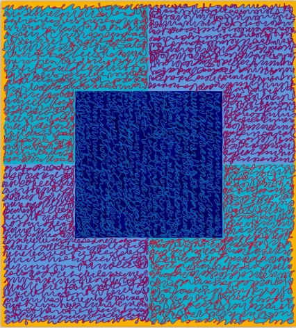 Louise P. Sloane, Fated 5, 2016, Acrylic paint and pastes on Aluminum Panel, 40 x 36 inches, Signed, titled and dated on verso, four rectangles and a central square (turquoise, blue, and yellow edges) with personal text written over the squares in pink and light blue to create three dimensional texture. Louise P. Sloane has been creating abstract paintings since 1974.