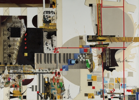 Sam Middleton, Staccato, 1997, Mixed media collage, 30 5/8 x 42 inches, Signed and dated lower right. Collage with geometric squares in yellow and blue, with layered photographs of music notes and a piano. Sam Middleton was one of the leading 20th-century American artists, and is a mixed-media collage artist.