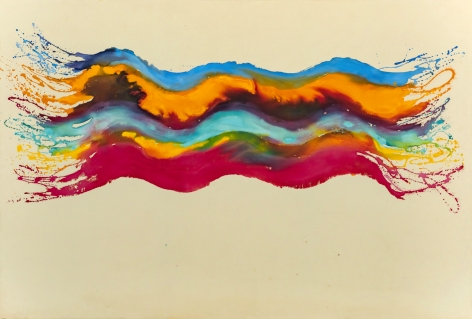 Pat Lipsky, Candy, 1969,  82 X 121 inches,  Acrylic on canvas,  Signed, dated, and titled on the verso. Blue, orange, turquoise, and pink organic and curved strokes that slightly begin to bleed into each other and mix colors. Pat Lipsky is an American Color Field, and Abstract artist.