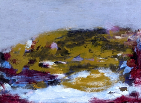 Felrath Hines, Untitled, 1954, Oil on canvas, 14 x 18 inches. Abstract painting with pale blue textured background and organic, soft ochre and Burgundy colors in the foreground. Felrath Hines worked to create universal visual idioms from a place of complex personal experience. His figurative and cubist-style artwork morphed into soft-edged organic abstracts as he grappled with hues in his chosen oil medium.