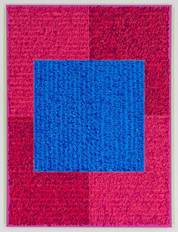 Louise P. Sloane, Labor Day, 2018, Acrylic paint and pastes on linen, 48 x 36 inches, Signed, titled and dated on the verso, four rectangles and a central square (different shades of pink with blue) and personal text written over the squares to create three dimensional texture. Louise P. Sloane has been creating abstract paintings since 1974.