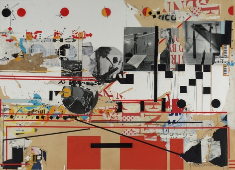 Sam Middleton,  Studio Session, 1992, Mixed media collage, 30 3/4 x 41 3/4 inches, Signed and dated lower right, MIDDLETON 92 Signed, dated, titled and numbered on verso. Abstract collage with black and white photographs, red and black rectangles and geometric lines. Sam Middleton was one of the leading 20th-century American artists, and is a mixed-media collage artist.