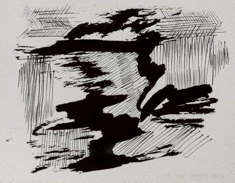 Felrath Hines, Untitled, 1977,  Ink on paper,  5 x 6.5 inches, Unsigned. Organic curved ink shapes with vertical and horizontal thin strokes. . Felrath Hines worked to create universal visual idioms from a place of complex personal experience. His figurative and cubist-style artwork morphed into soft-edged organic abstracts as he grappled with hues in his chosen oil medium.