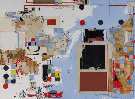 Sam Middleton,  Theme, 1991,  Mixed media and collage on paper  30-1/2 x 41-1/2 inches,  Signed and dated lower right. Abstract work with geometric cubes, rectangles and spheres in blue, yellow and red. Sam Middleton was one of the leading 20th-century American artists, and is a mixed-media collage artist.