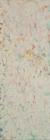 Stanley Boxer, Roansplaywitnessofday, 1980, Oil on Linen, 50 x 18 inches, Large abstract painting with multi colored strokes over an off white background. Stanley Boxer was known for abstract work that was painted thickly. His work is part of the permanent collections of many museums.