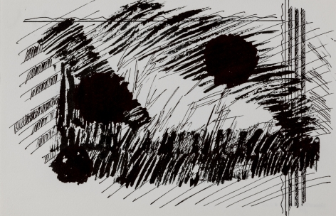 Felrath Hines,  Untitled, 1977, Ink on paper,  5 x 9.75 inches, Unsigned.Large spherical ink blots with vertical lines and scribbles. Felrath Hines worked to create universal visual idioms from a place of complex personal experience. His figurative and cubist-style artwork morphed into soft-edged organic abstracts as he grappled with hues in his chosen oil medium.