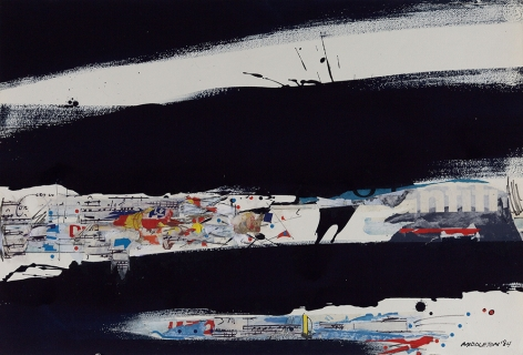 Nocturnal Beat, 1984,  Mixed media and collage on paper,  20-3/8 x 30-1/4,  Signed and dated lower right. Abstract work with large navy and black marks.Sam Middleton was one of the leading 20th-century American artists, and is a mixed-media collage artist.