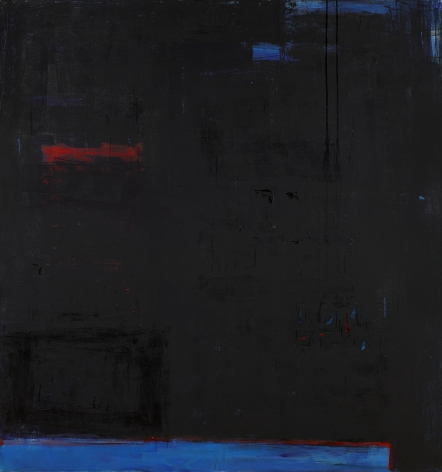 Katherine Parker, Obscura, 2016, Oil on canvas, 68 x 64 inches, Abstract black painting with multiple layers of black, blue and red, Katherine Parker is known for her large vividly painted canvases which are characterized by layers of stumbled and abraded oil paint.