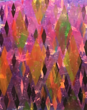 Erin Parish. Untitled (Purple & Green), 2019, Oil and resin on canvas, 60 x 48 in., Signed and dated on verso. Composed principally of fields of colorful lozenges - purple, pink, orange, yellow and green, Parish's paintings do not have primary focal points, but rather implied depth, created by the use of resin resulting in textured surfaces that guides the eye. Layered and dense, Parish's works convey a distinct tension between the textured surface and the underpainting resulting in structurally rigorous and complex compositions.