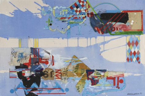 Sam Middleton, Strong World, 1981,  Mixed media on paper,  20 x 30 inches,  Signed and dated lower right. Abstract work with blue background, and checkered multi-colored rectangles and geometric marks in the foreground in blue and red. Sam Middleton was one of the leading 20th-century American artists, and is a mixed-media collage artist