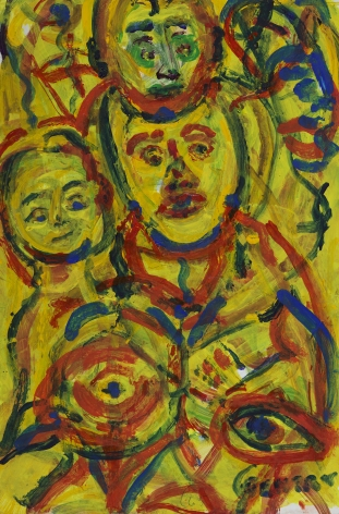 Herbert Gentry, Family Man, 1998,  Acrylic on board,  12 x 8 inches,  Signed lower right. Abstract painting with yellow background, red and blue circular paint strokes in the foreground that have human features. Herbert Gentry painted in a semi-figural abstract style, suggesting images of humans, masks, animals and objects caught in a web of circular brush strokes, encompassed by flat, bright color.