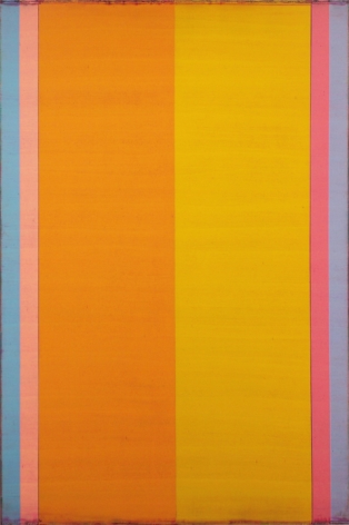 Steven Alexander, Reverb 9, 2017, Oil and acrylic on linen, 72 x 48 inches, Signed and titled on the verso. Vertical rectangles in orange, yellow, pinks, purple and blue, Steven Alexander is an American artist who makes abstract paintings characterized by luminous color, sensuous surfaces and iconic configurations.