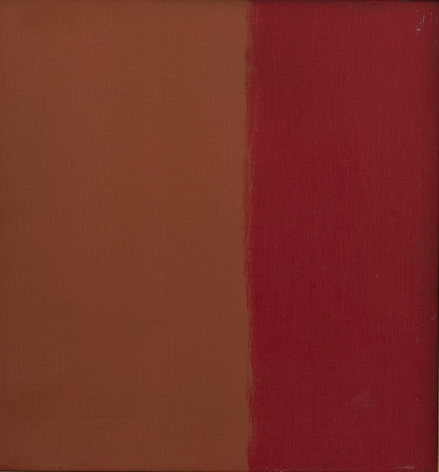 Felrath Hines, Untitled (Sketch), 1969, Oil on canvas, 14 x 15 inches. Canvas split in half vertically with orange and red. Felrath Hines worked to create universal visual idioms from a place of complex personal experience. His figurative and cubist-style artwork morphed into soft-edged organic abstracts as he grappled with hues in his chosen oil medium.