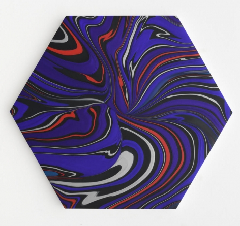 Andy Moses, Geodynamics, 1011, 2019  Acrylic on canvas over hexagonal shaped wood panel  55 x 48 inches
