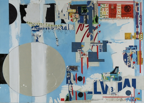 Sam Middleton, Ella, 1998,  Mixed media and collage on paper,  30-1/2 x 42-1/4,  Signed dna dated lower right. Collage with  blue, grey, and white layered over typography. Sam Middleton was one of the leading 20th-century American artists, and is a mixed-media collage artist.