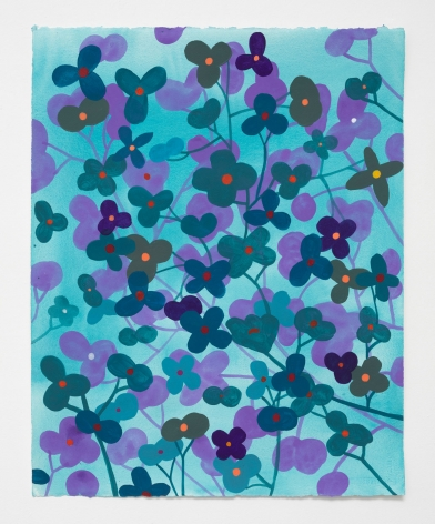 Ruby Palmer, Flower Series: Purple and Green on Light Turquoise, 2021