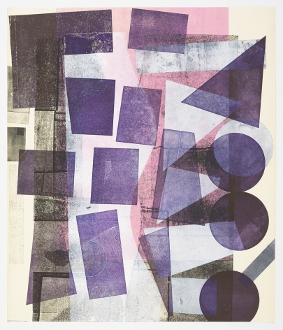 Austin Thomas, Fading Pink, High Purple, White Shapes, 2019