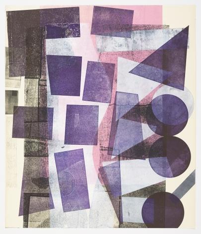 Austin Thomas, Fading Pink, High Purple, White Shapes, 2019