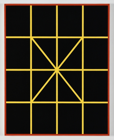 Cary Smith, Complex Diagonals (black, yellow with red border), 2017