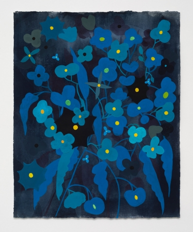 Ruby Palmer, Flower Series: Turquoise and Blue on Dark Grey, 2021