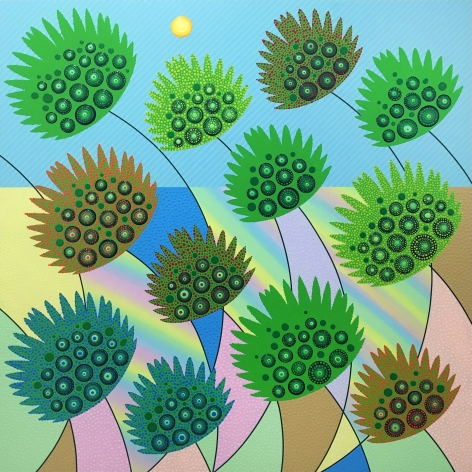 Eric Hibit, Dewdrops on Palms, 2020