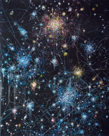 Kysa Johnson, blow up 272 - the long goodbye - subatomic decay patterns and the blue white stars of the southern cross, 2015